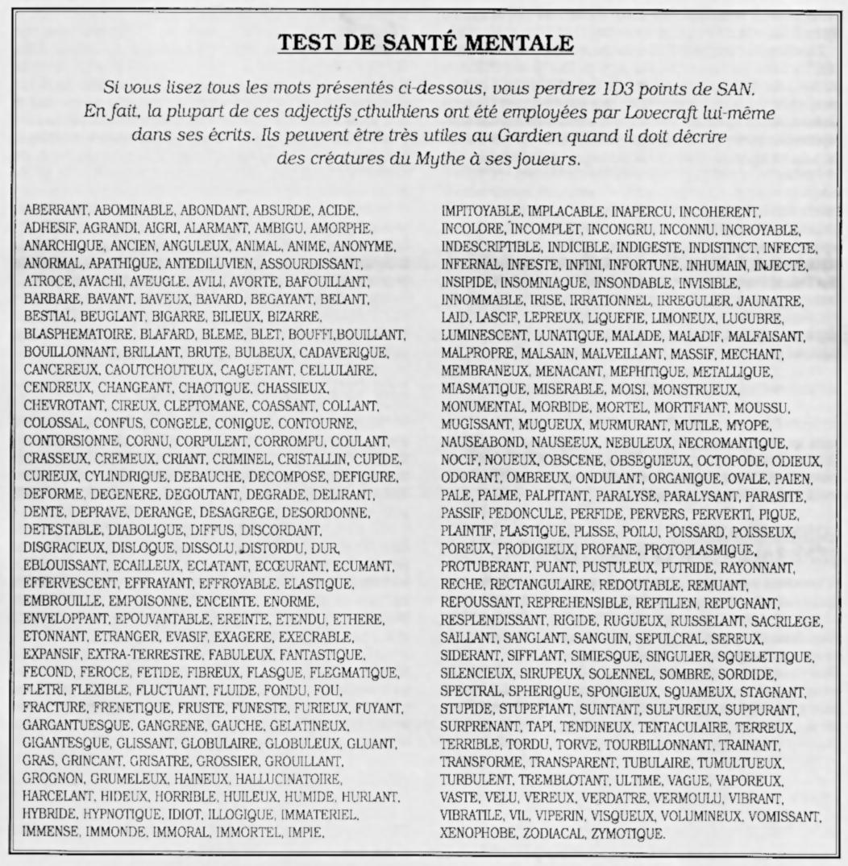 Extrait du jeu de rôle l'Appel de Cthulhu, 4e édition française : une liste de 100 mots de vocabulaires que l'on retrouve dans les écrits de Howard Philippe Lovecraft.