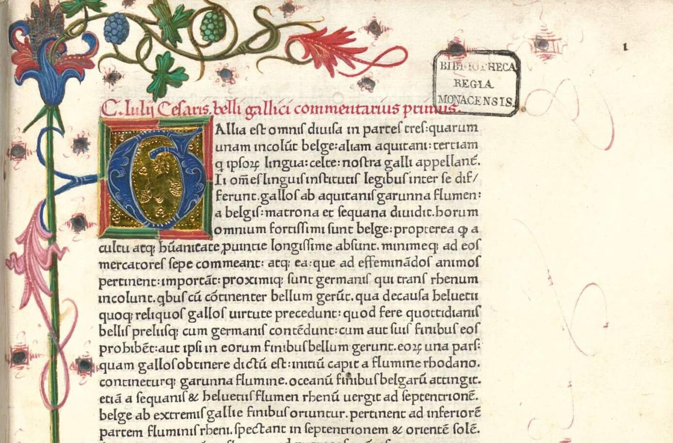 Page d'un exemplaire manuscrit du Commentaire de la guerre des Gaules de Jules César